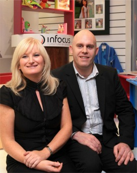 Aisling Collins and Godfrey Dawson of Infocus, Muff, at their new Shop Window space in Letterkenny.