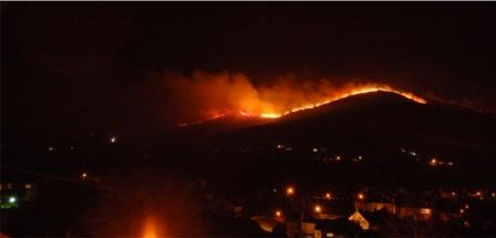 The gorse fire on Kinnego Hill near the Illies, Buncrana. Photo courtesy Jon Hayes.