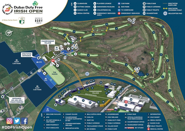 Map Of Ireland Golf.Dubai Duty Free Irish Open Key Facts And Site Map