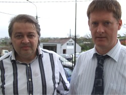 Draughts Grandmasters, from left, Alex Moiseyev and Hugh Devlin.